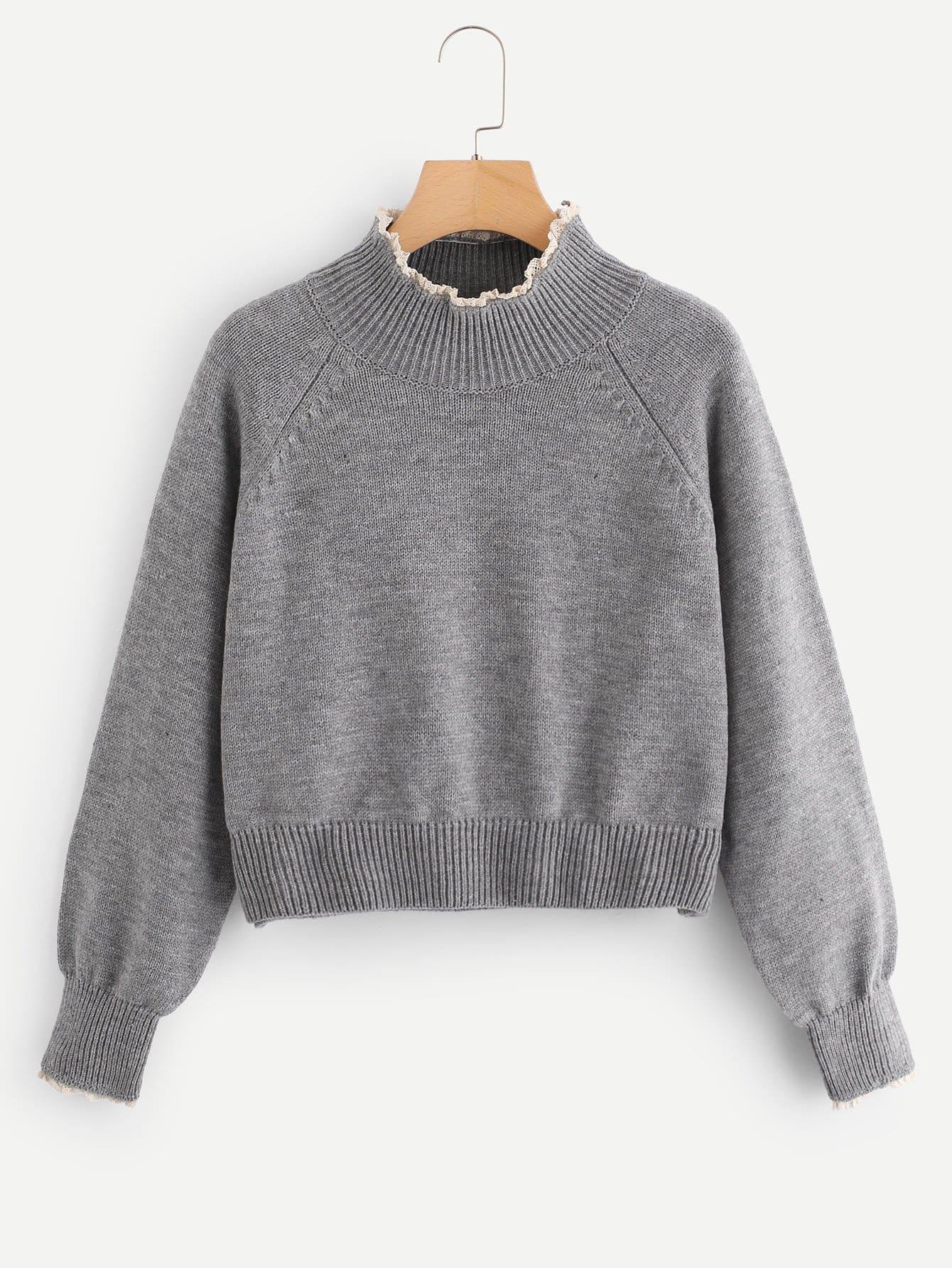 Купить Кружева Trim High Neck Heather Grey Sweater, null, SheIn