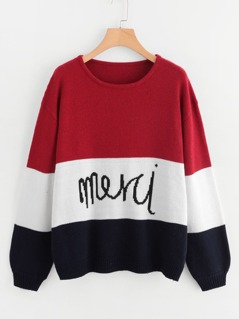 Soft Knit Colorblock Jumper with Lettering