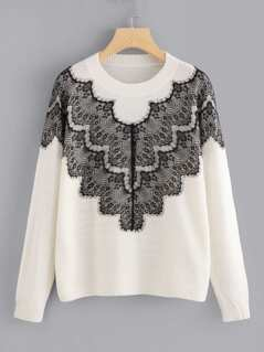 Soft Knit Sweater with Contrast Lace Panel