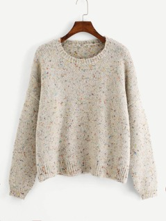 Drop Shoulder Flecked Sweater