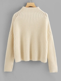 Funnel Neck Chunky Knit Jumper