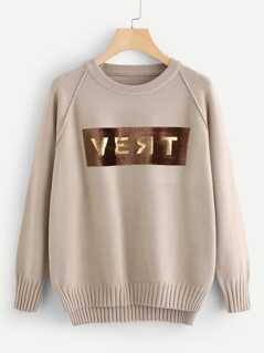 Raglan Sleeve Stepped Hem Lettering Sweater