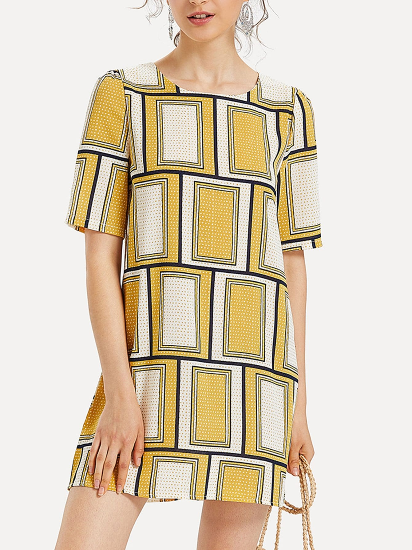 Zip Back Geo Print Dress zip back fit and flared plaid dress