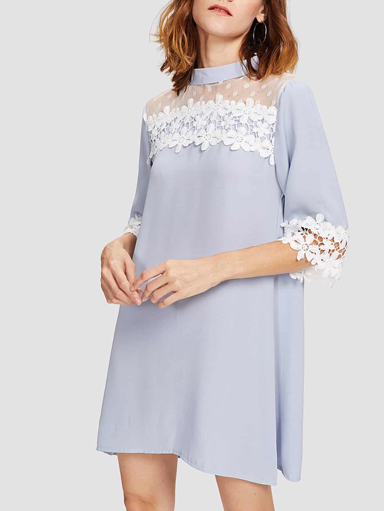 Фото Dot Mesh Panel Guipure Lace Trim Dress