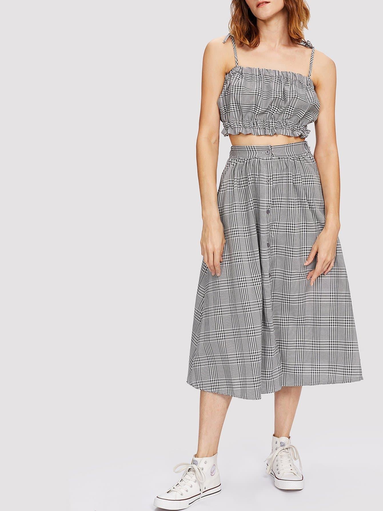 Frill Trim Plaid Crop Cami Top With Skirt plaid print crop top and skirt set