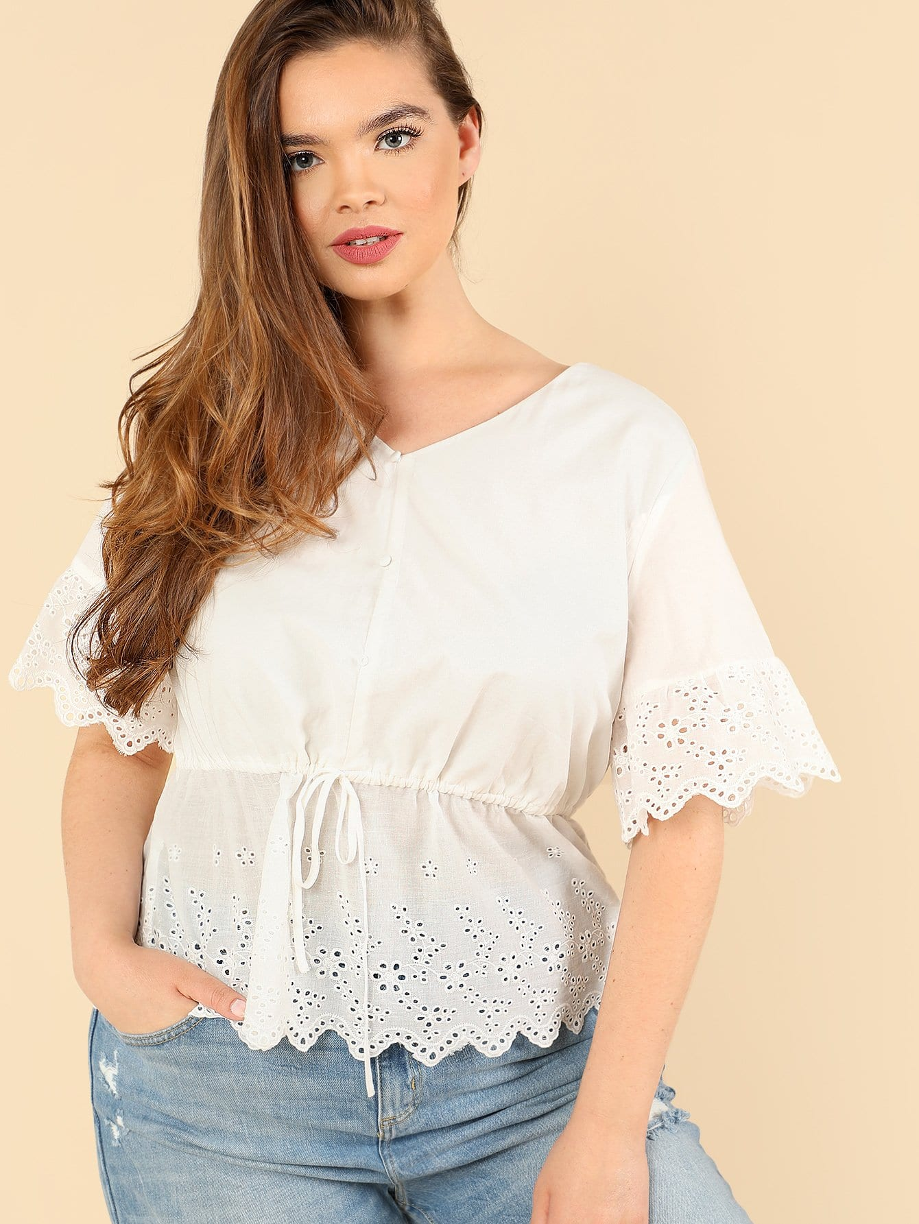 Button Detail Embroidery Eyelet Hem Blouse pinstriped open shoulder tie detail embroidery blouse