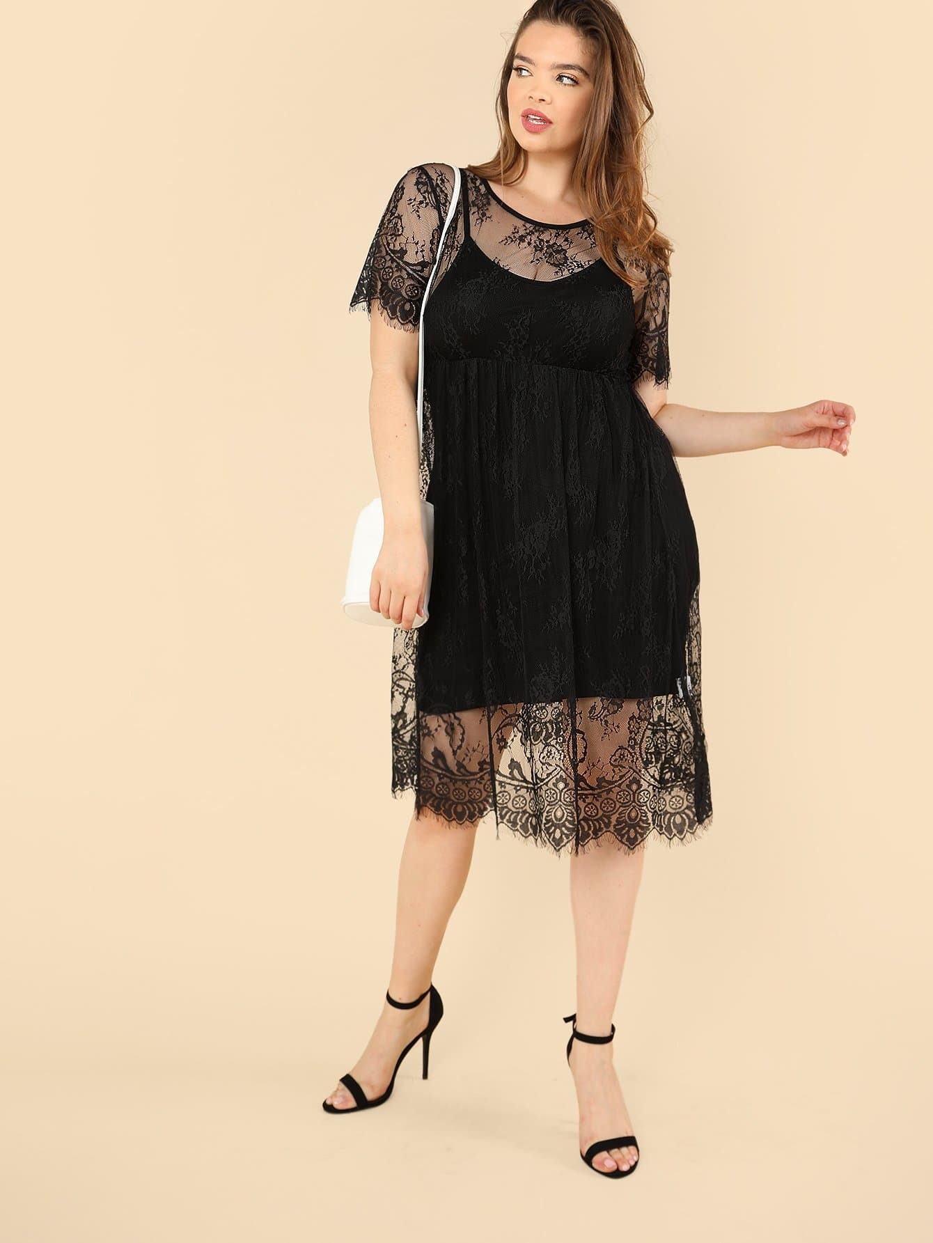 Floral Lace Smock Dress with Cami цена и фото