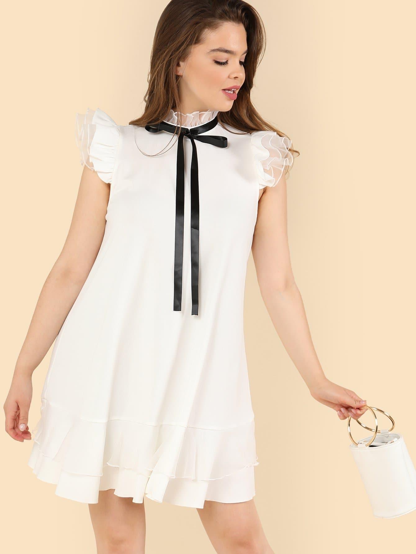 Tie Neck Layered Ruffle Trim Dress burgundy contrast sheer neck layered sleeve ruffle dress