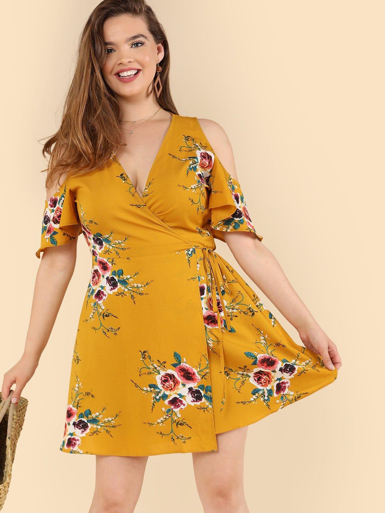 Cold Shoulder Floral Wrap Dress cold shoulder floral wrap dress