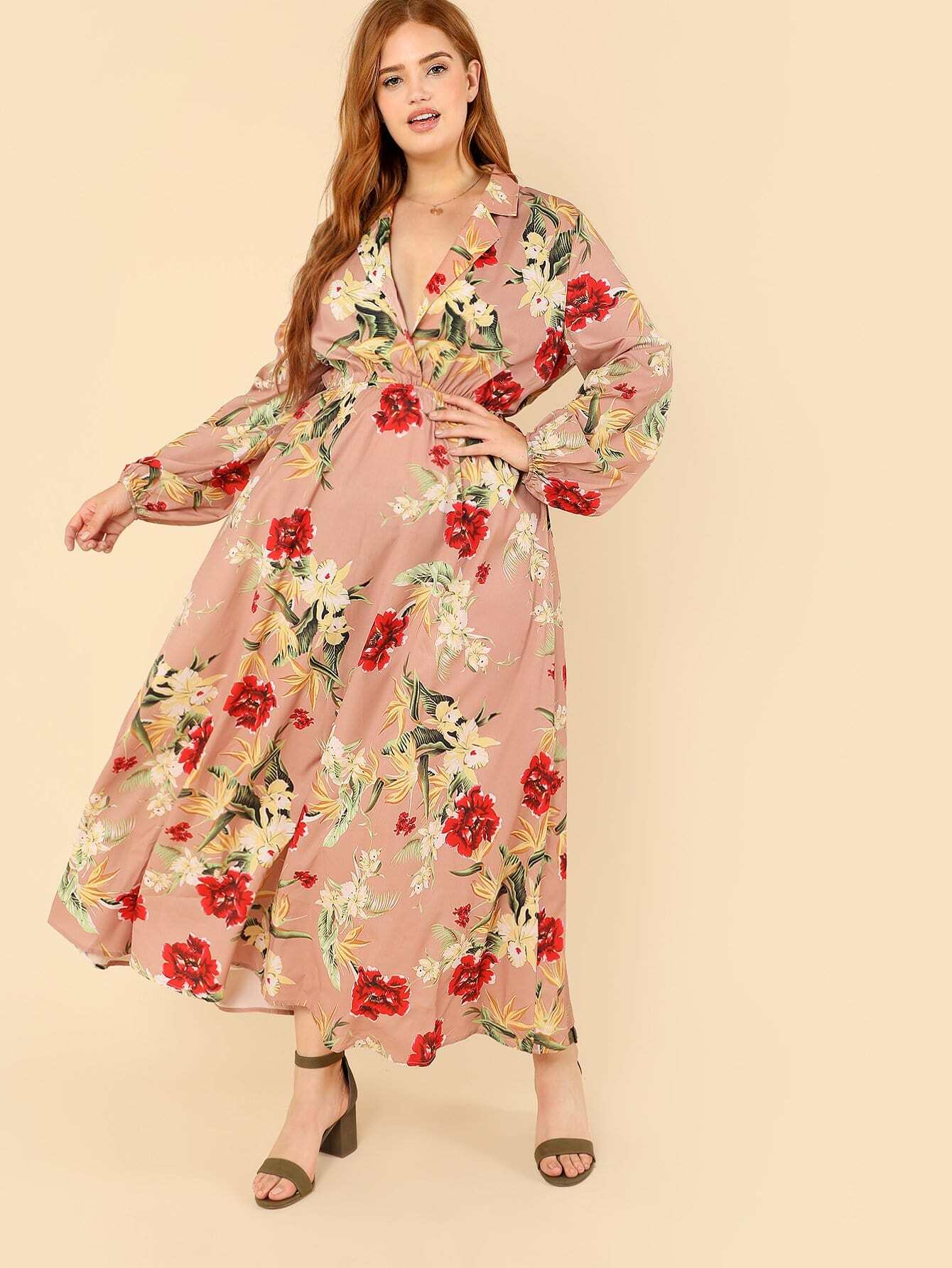 Notch Collar Lantern Sleeve Wrap Botanical Dress notch collar floral wrap dress