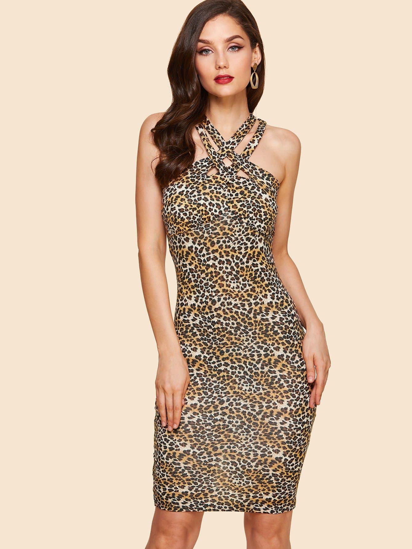 Купить Платье с принтом леопард крест-накрест, Julie H., SheIn