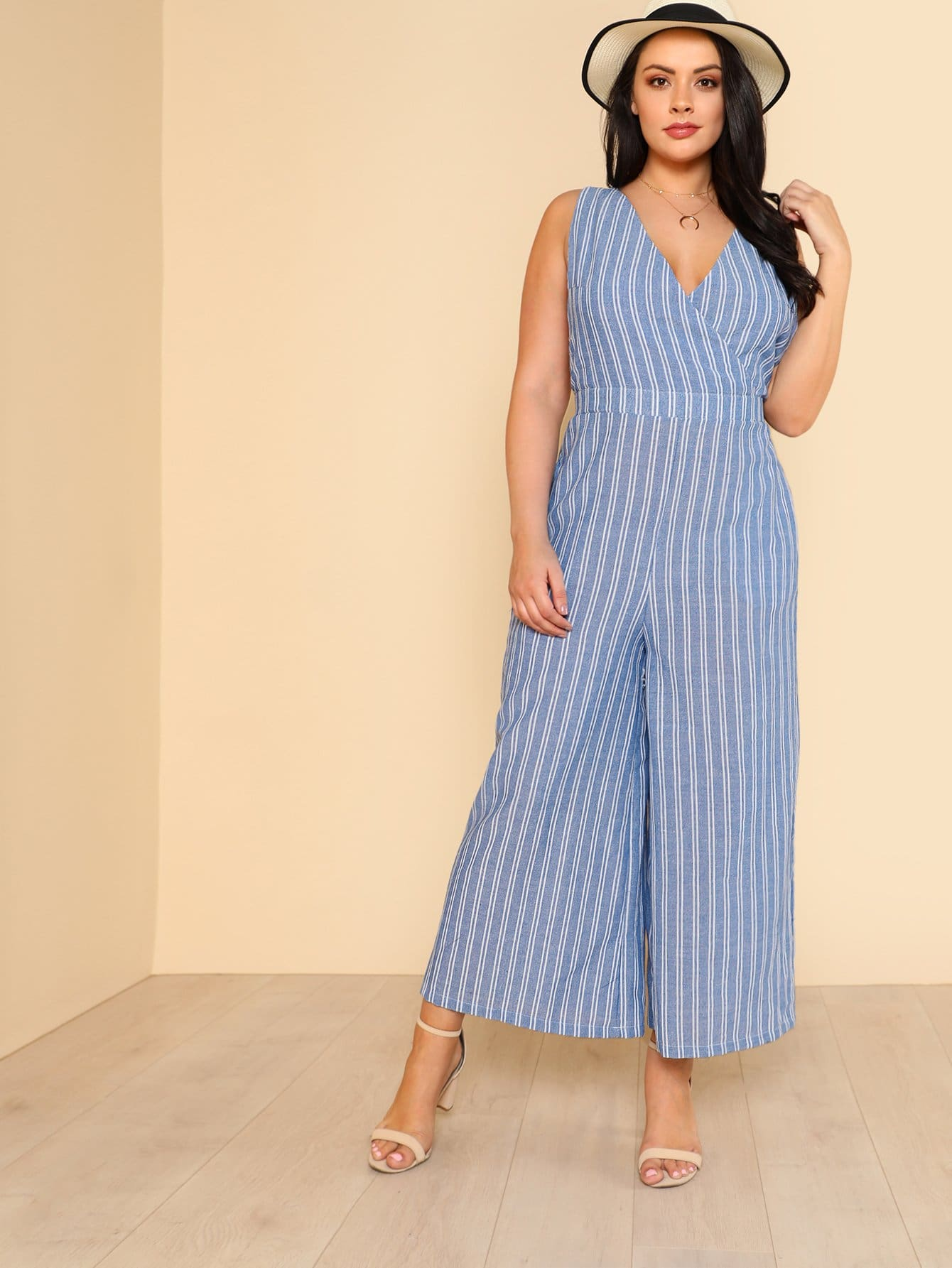 Wrap Front Striped Palazzo Jumpsuit wrap front floral jumpsuit with belt