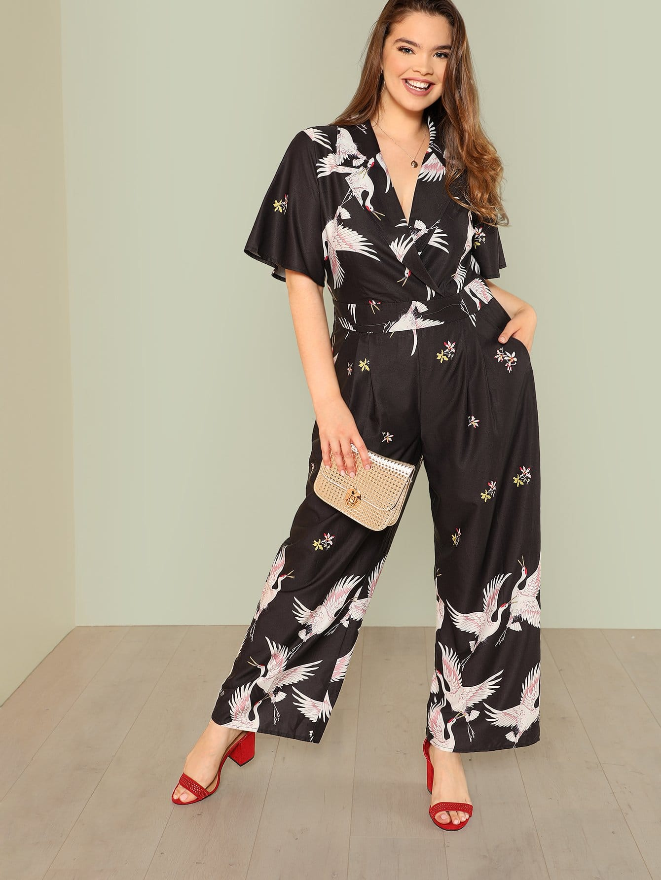 Plus Flamingo Print Wrap Jumpsuit flamingo print wrap jumpsuit
