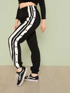 Plus Striped Print Button Side Pants