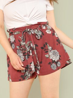 Plus Belted Floral Shorts