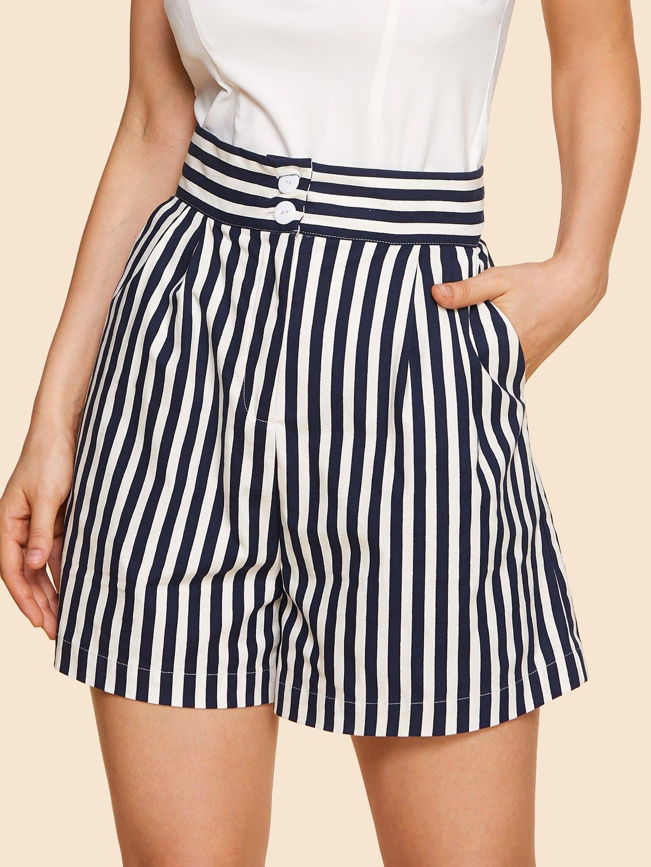 Купить Широкие шорты с высокой талией и полосками, Julie H., SheIn