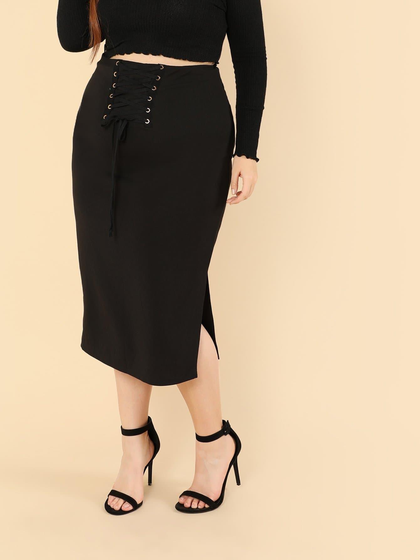 Plus Eyelet Lace Up Split Skirt колонка supra sj694