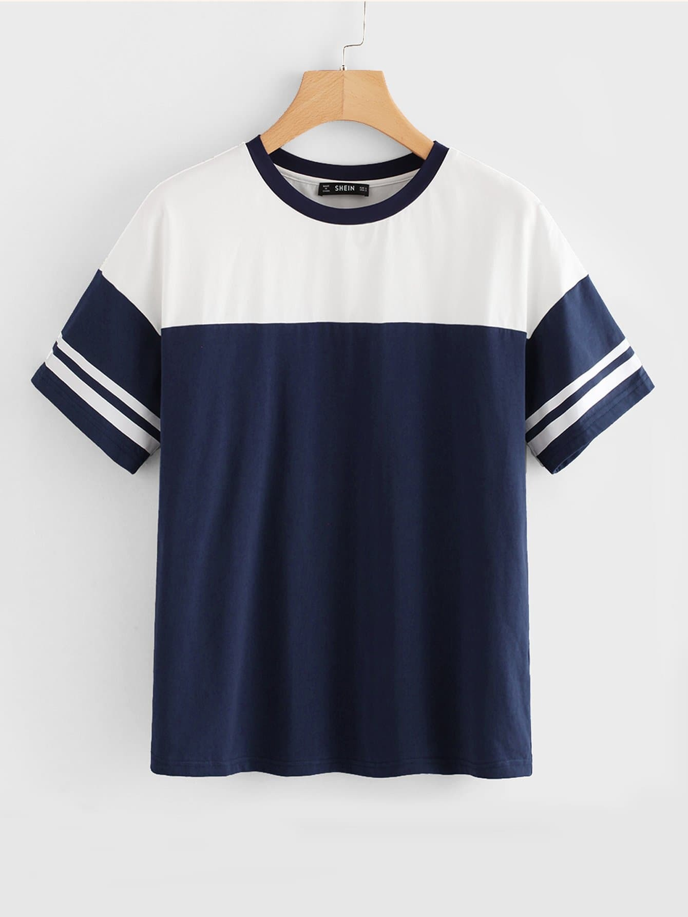 Contrast Tape Two Tone Tee two tone drop shoulder tee