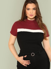 Color Block Rib Knit Fitted Tee SHEIN