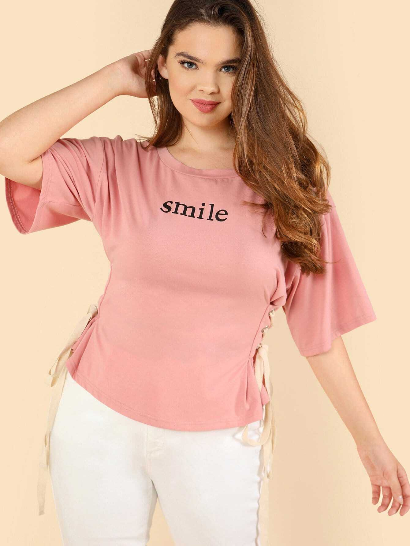 Grommet Lace Up Side Letter Print Tee grommet lace up plunge neck tee