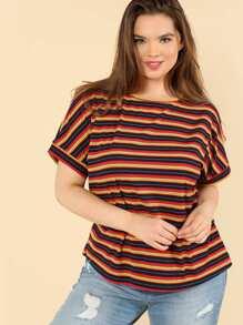 Rib Knit Striped T-shirt SHEIN