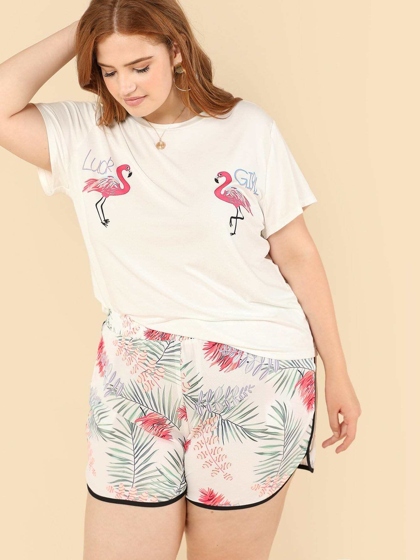 Mixed Print Tee & Dolphin Hem Shorts Set dolphin hem camo tee