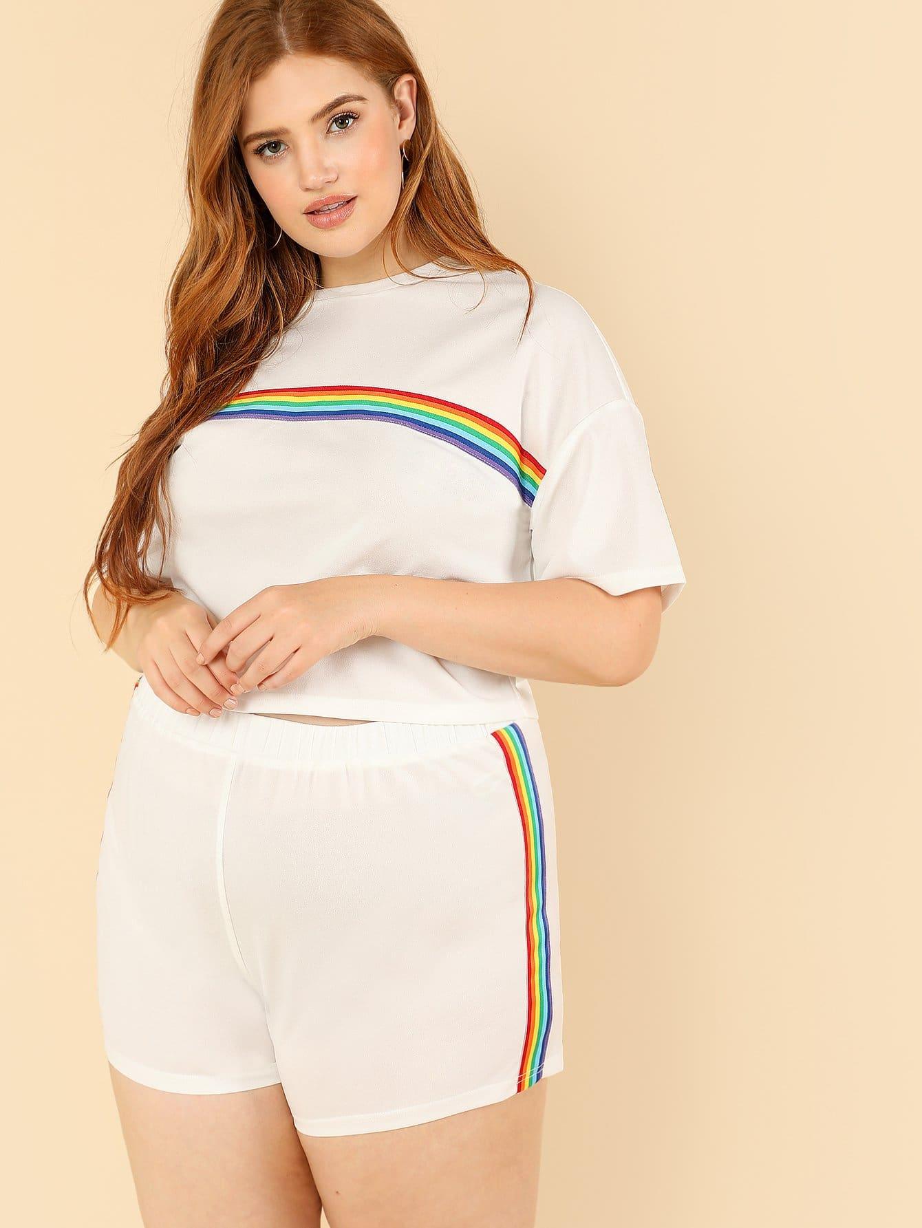Rainbow Striped Tee & Shorts Set men rainbow striped tee