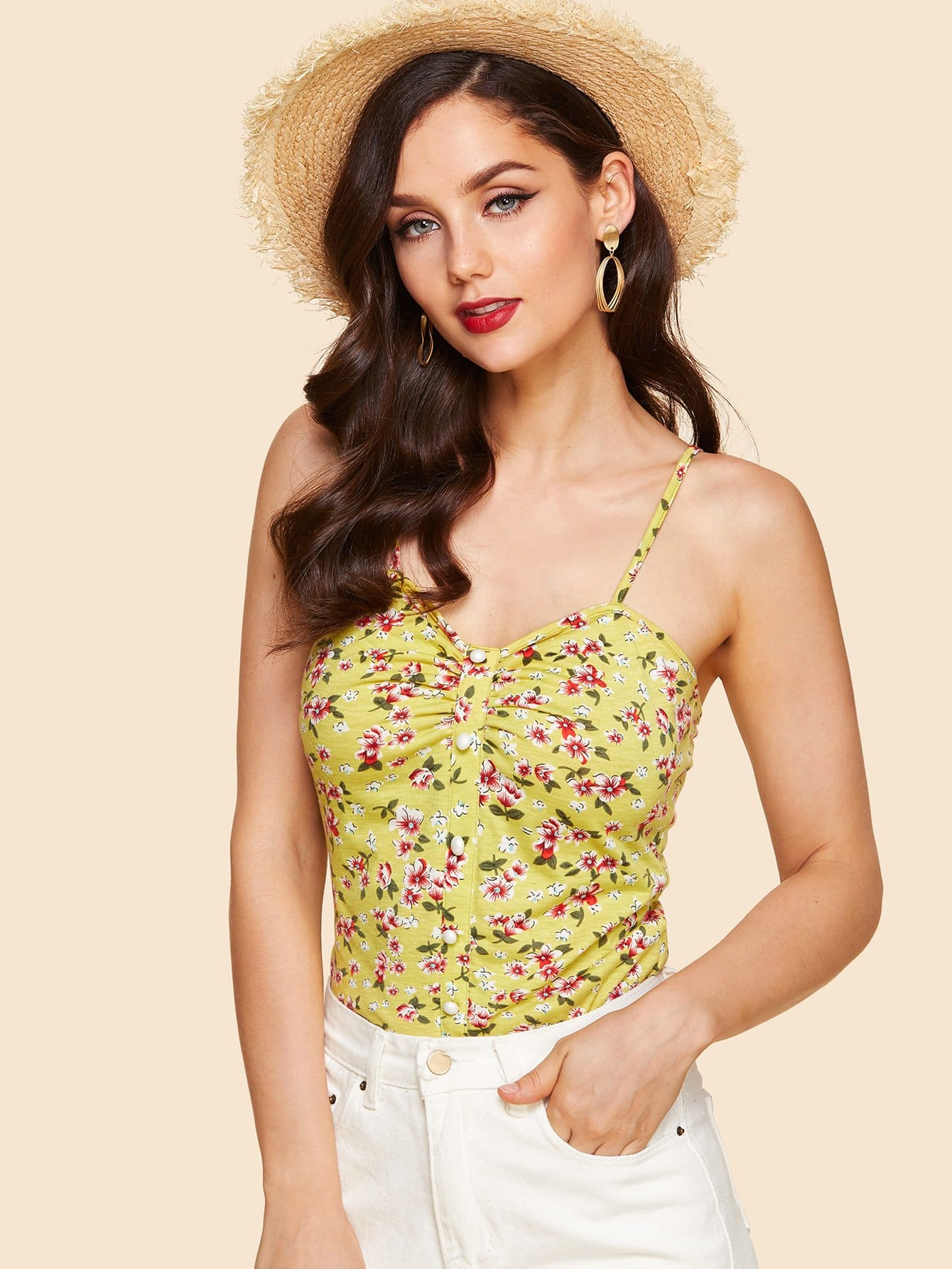 Ruched Detail Buttoned Calico Print Cami Top calico print faux pearl detail cami dress