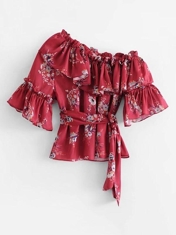 Ruffle Trim Self Tie Florals Blouse цена и фото