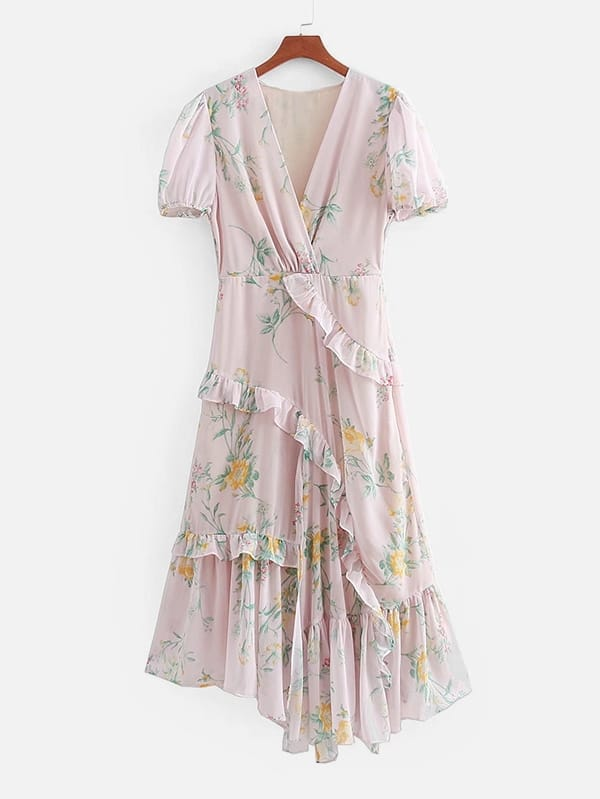 Botanical Print Tiered Ruffle Chiffon Dress цена