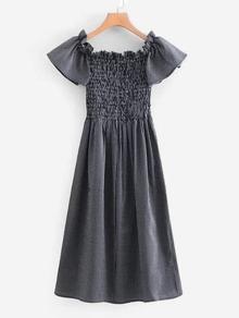 Shirred Bardot Frill Trim Pinstriped Dress