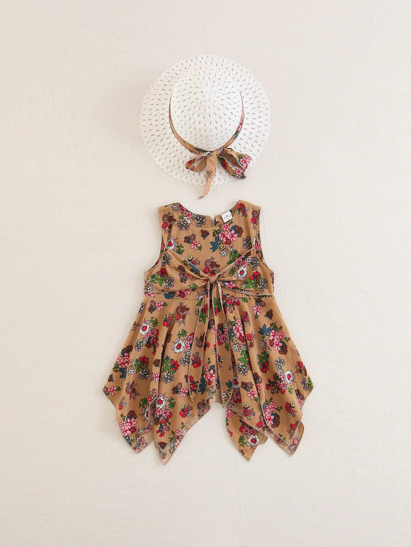 Kids Knot Detail Hanky Hem Dress With Hat high slit hanky hem metallic halter dress