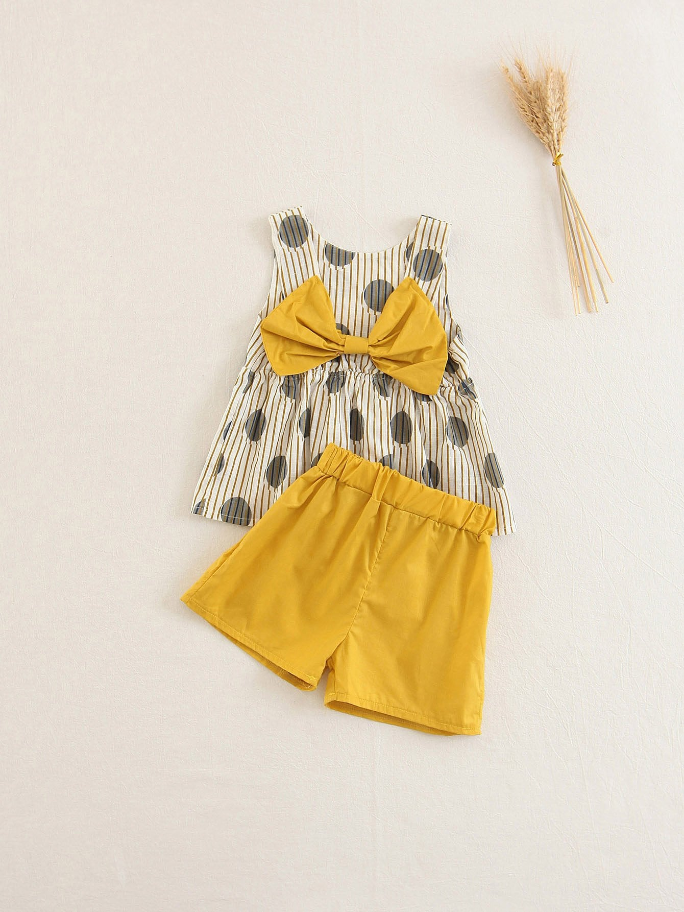 Kids Bow Back Pep Hem Top With Shorts mesh insert jacquard pep hem top