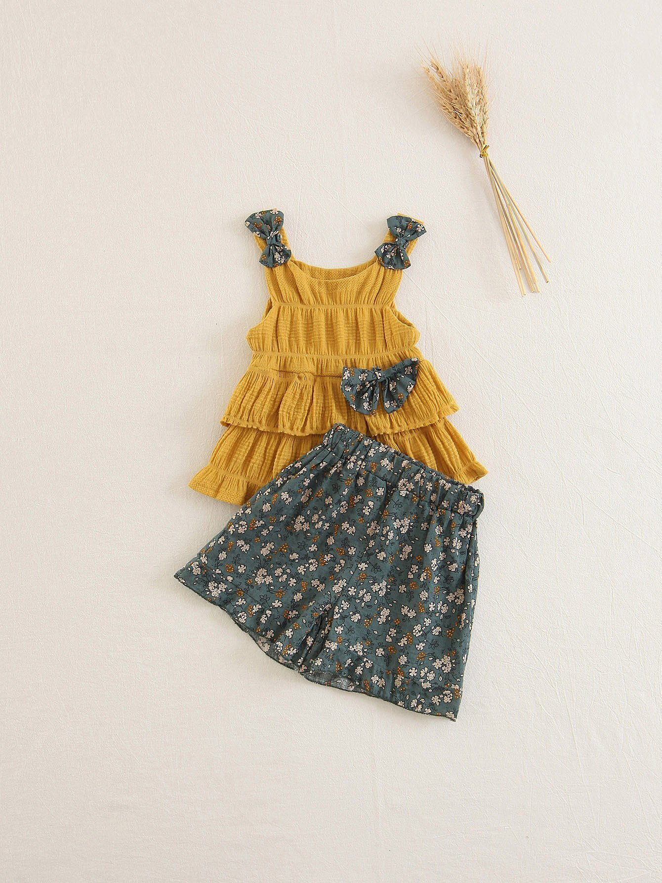 Kids Bow Detail Tiered Top With Shorts allover florals bow tie detail frill top with shorts