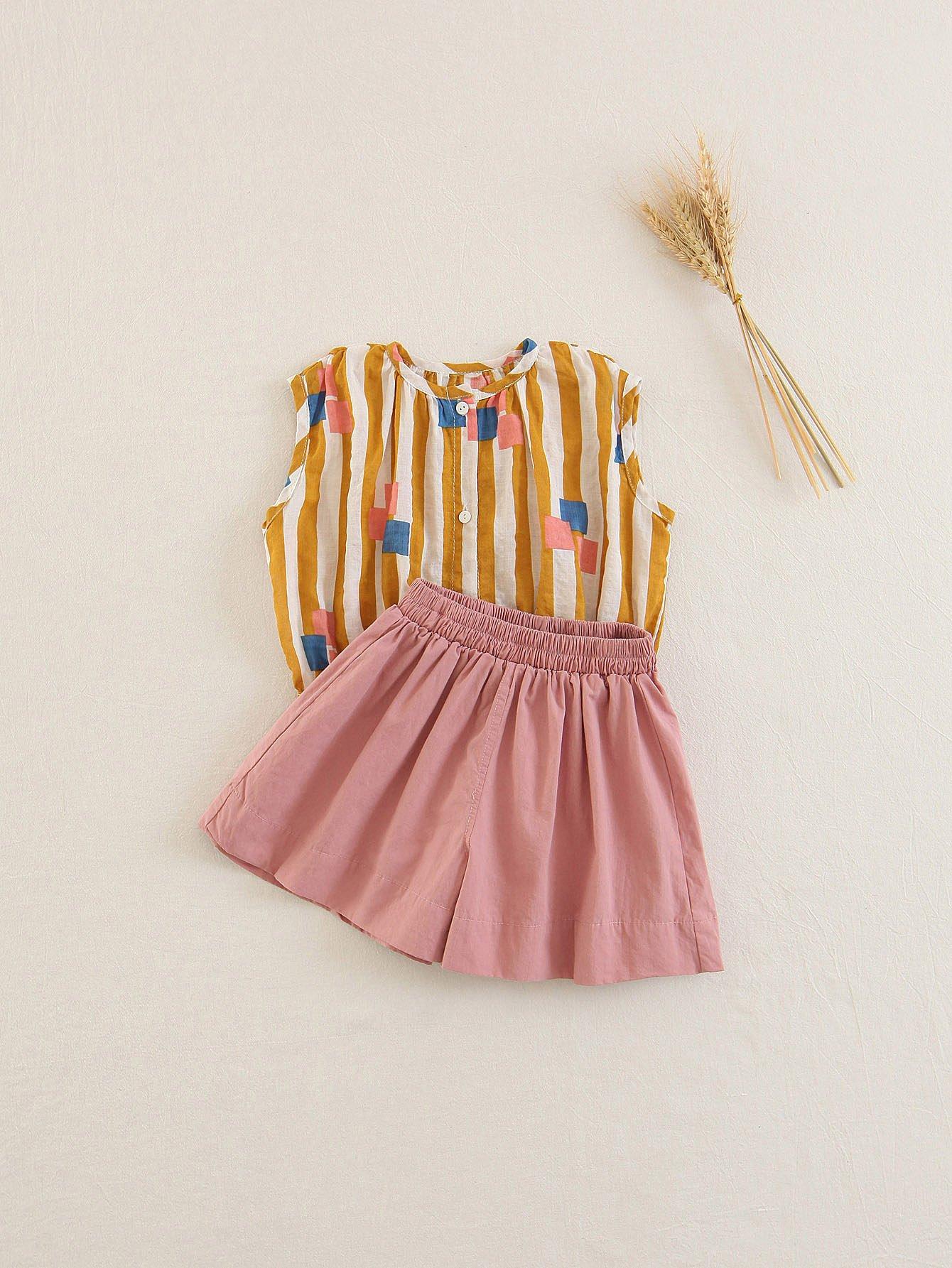 Купить Блузка с полосками и юбка-шорты для детей, null, SheIn