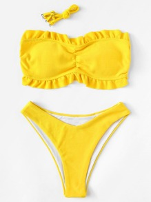Frill Hem Bandeau Bikini Set