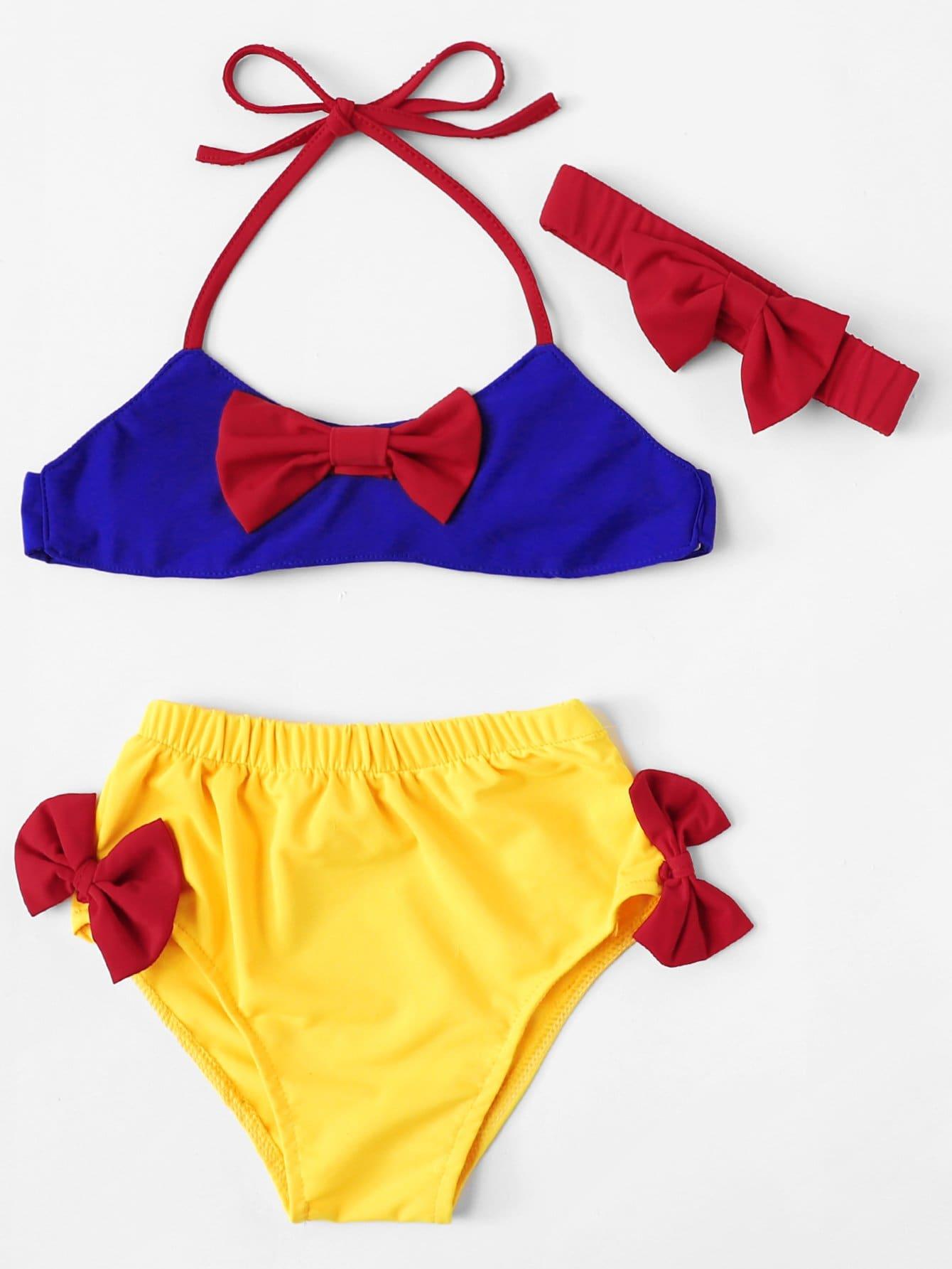 Girls Bow Decorated Bikini Set With Headband