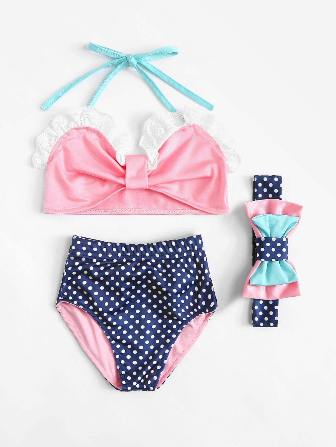 Girls Polka Dot Bow Bikini Set With Headband 10pcs fashion girls hair band polka dot bow rabbit ears elastic hair rubber ponytail holder hair accessories for women headband