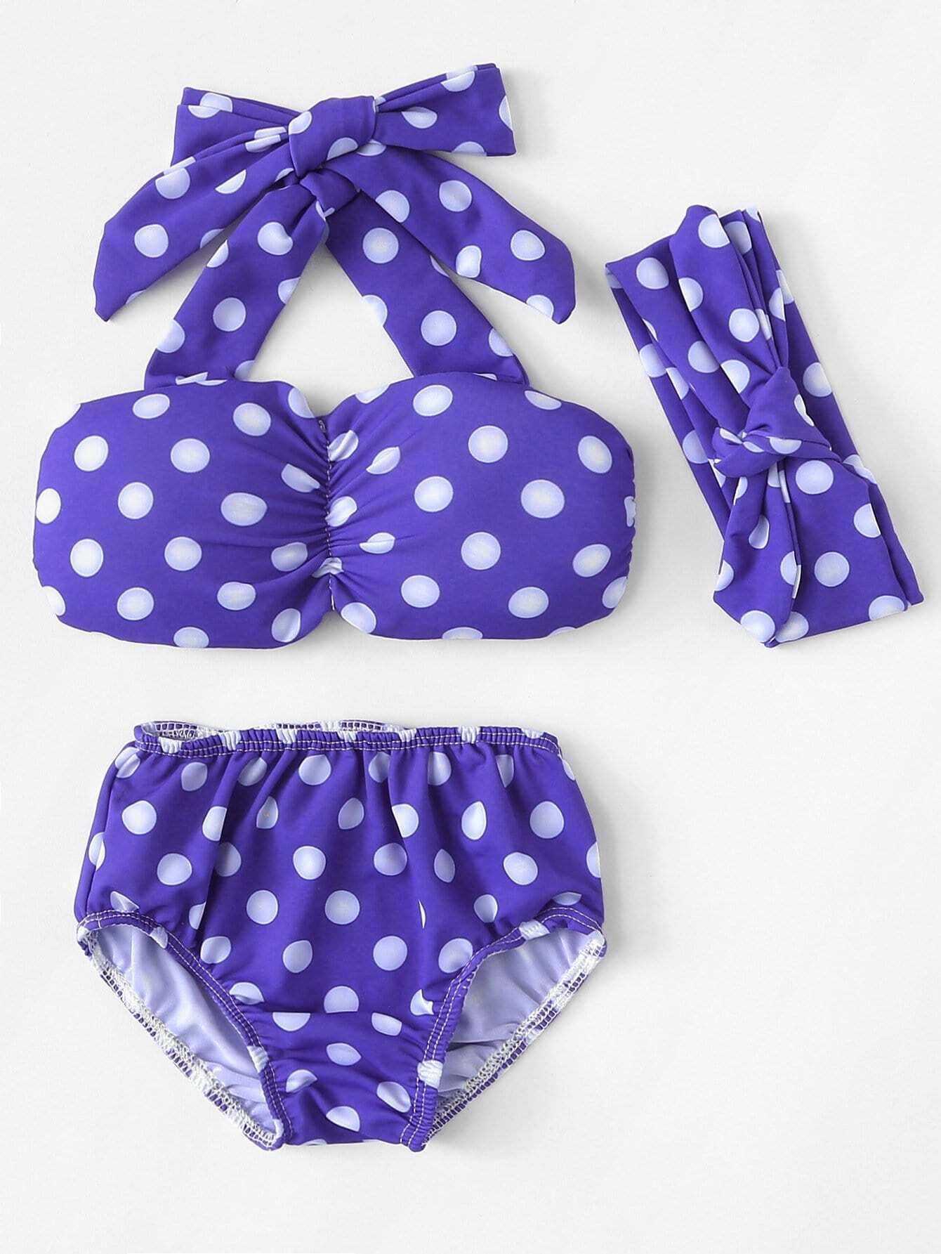 Polka Dot Bikini Set With Headband polka dot bikini set