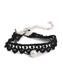Faux Pearl Decorated Lace Bracelet