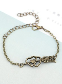 Arrow & Heart Design Chain Bracelet
