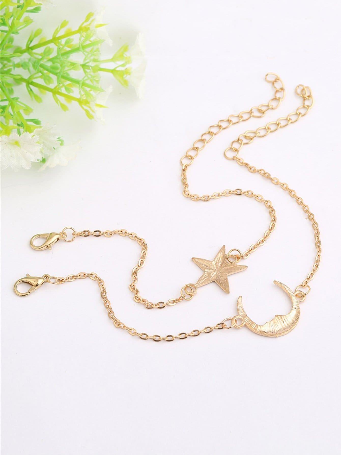 Star & Moon Design Chain Bracelet Set