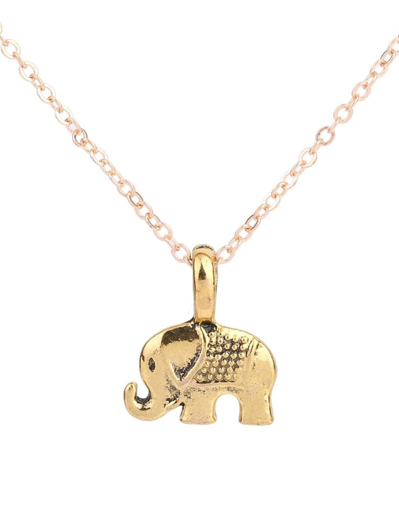 Elephant Pendant Chain Necklace, Gold