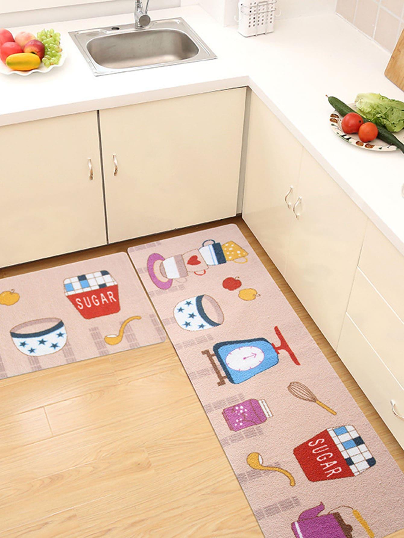 Random Kitchenware Print Mat 1pc random chef print kitchen mat 1pc