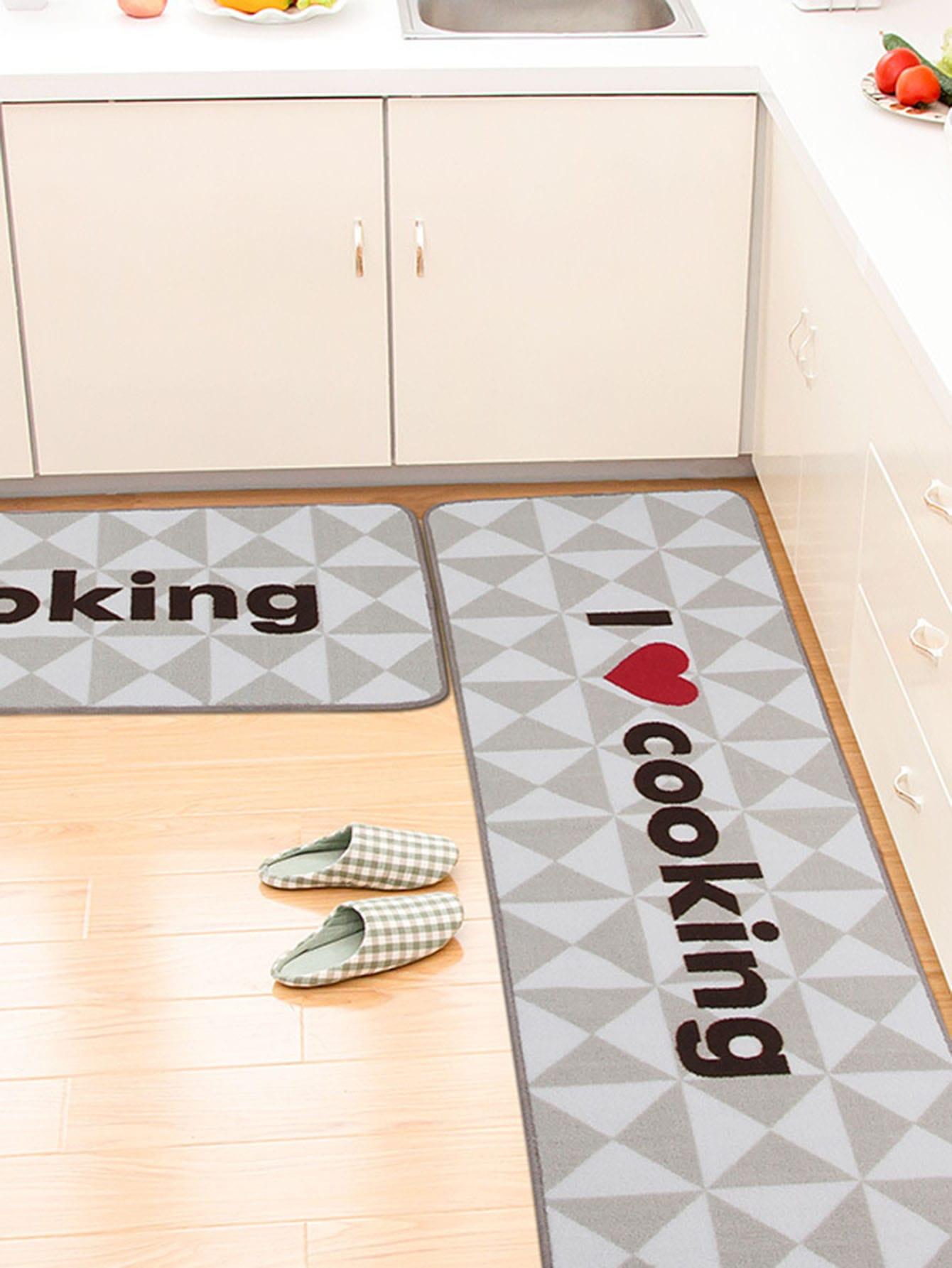 Slogan Print Plaid Kitchen Mat 1pc random chef print kitchen mat 1pc
