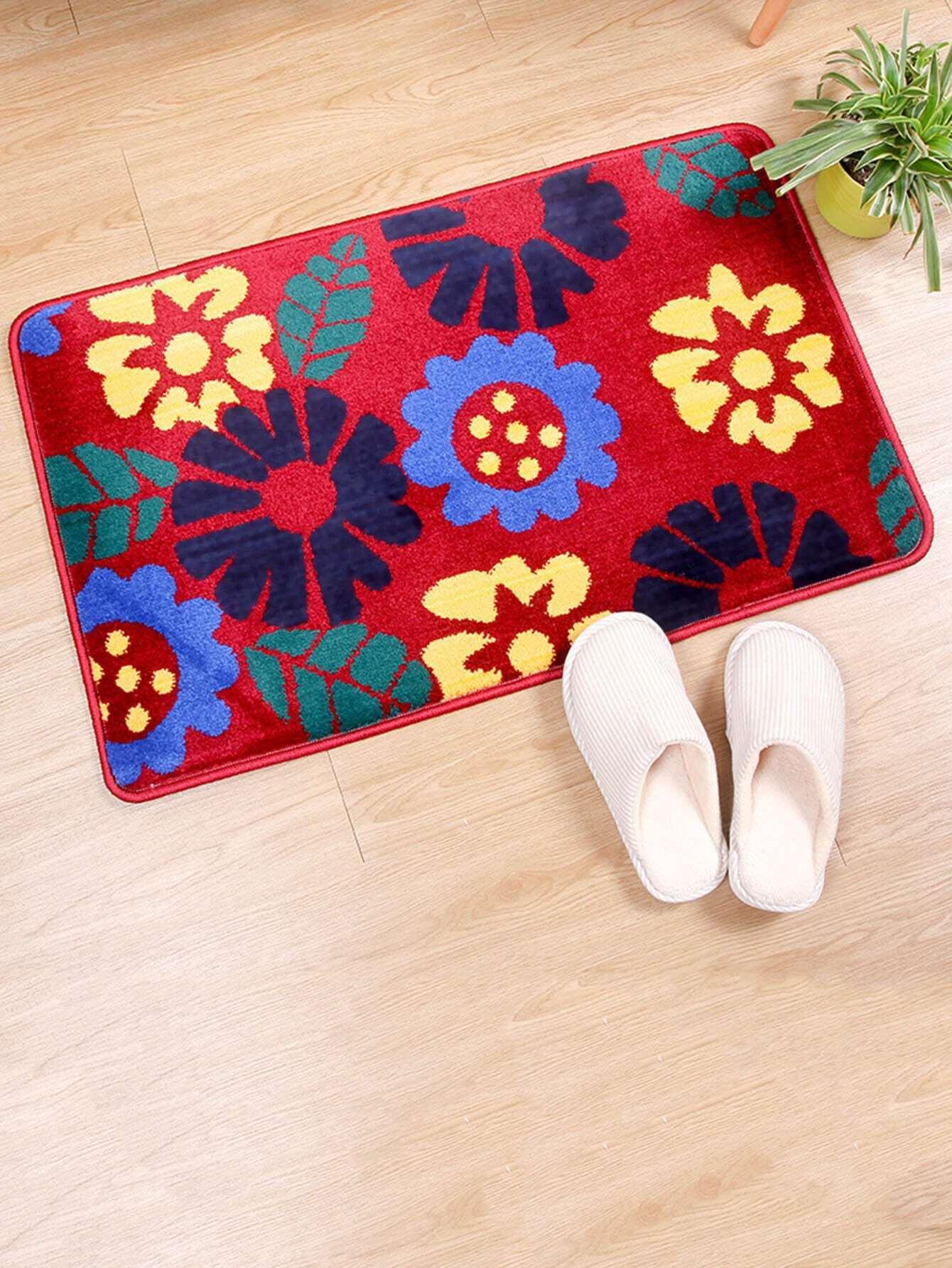 Flower Overlay Door Mat feather overlay print door mat