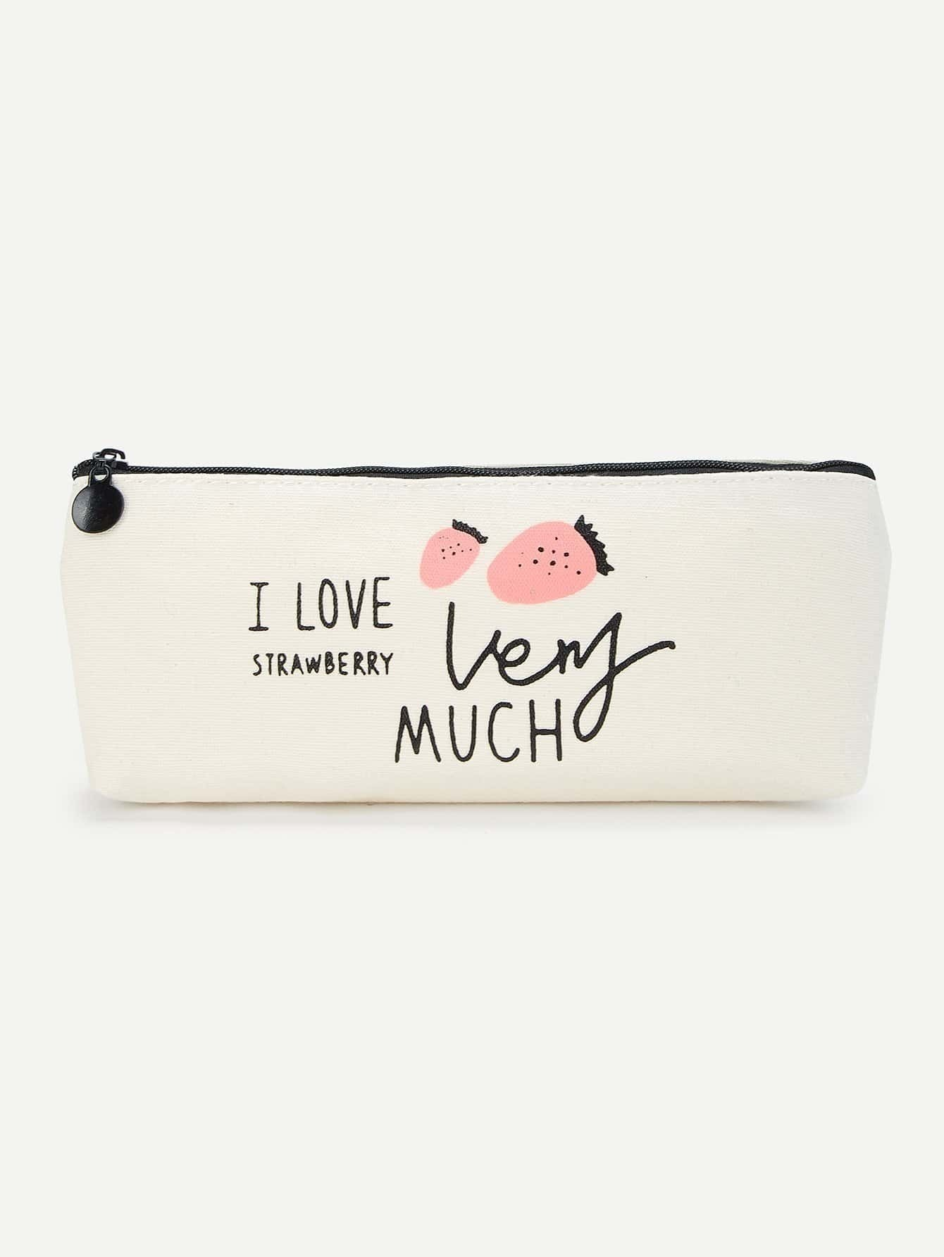 Strawberry Print Pencil Case 2017 korean cute cat fresh pu leather mini wallets women small clutch girls female coin purse card holder lady money bags