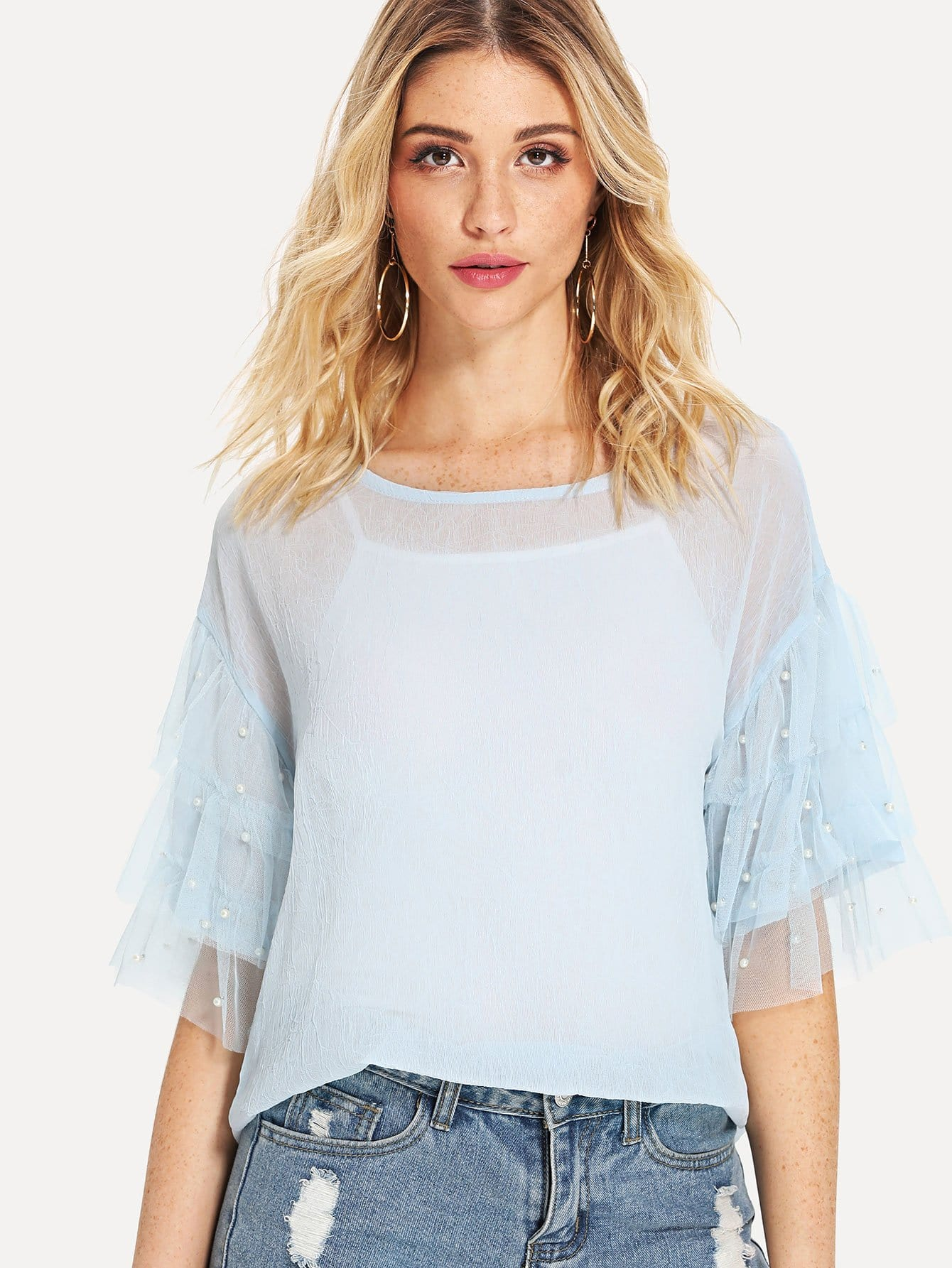 Flounce Sleeve Faux Pearl Beading Top & Cami Top flounce sleeve faux pearl beading lace top