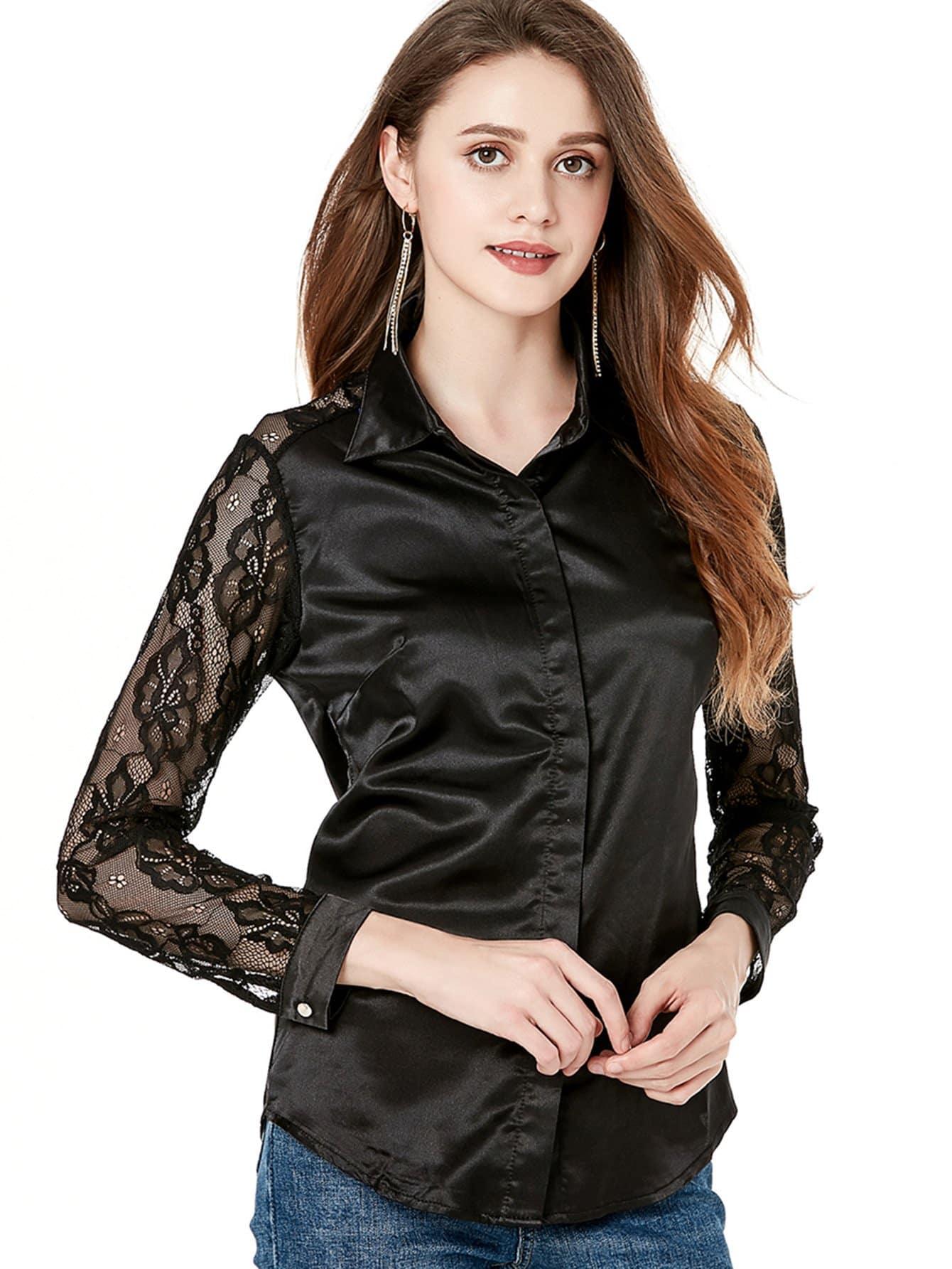 все цены на Lace Contrast Sleeve Shirt
