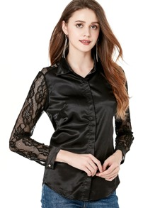 Lace Contrast Sleeve Shirt
